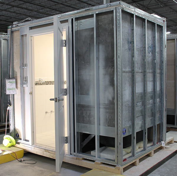 prefabricated, bathroom, pod, new york, prospect plaza, housing