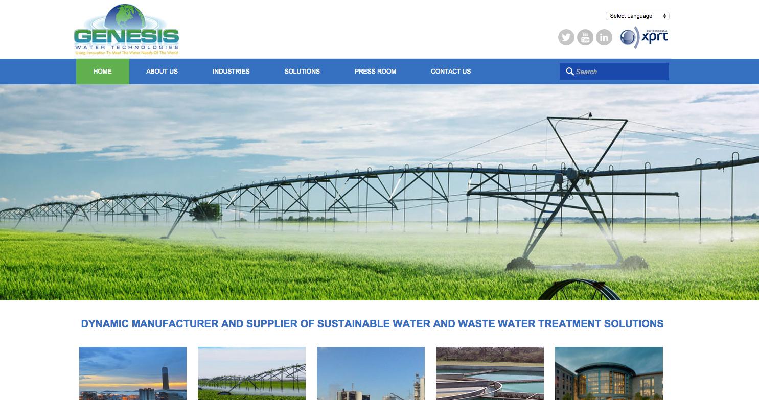 Genesis Water Technologies, Website, Launch, Redesign