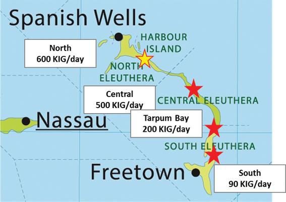 Map of desalination facilities on Eleuthera