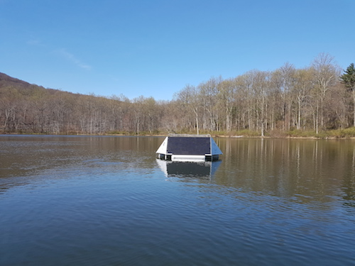 The buoy was installed in Rainbow Lake in Emmitsburg, Md.