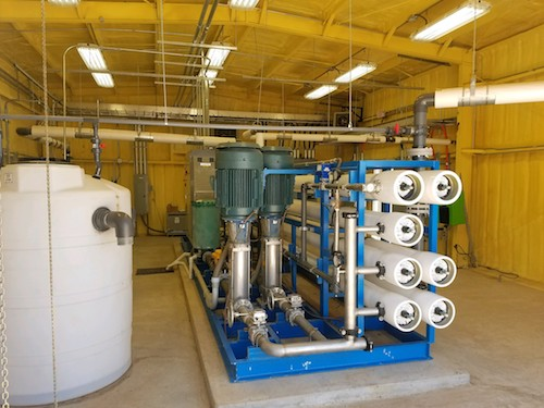 The RO system is capable of processing up to 250,000 gal of water per day.