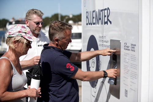 Hydration stations pump water from the Baltic Sea and treat it for drinking.